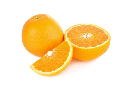 half  cut: whole and half cut orange on white background