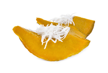 shredded coconut: steamed pumpkin with shredded coconut on white background Stock Photo