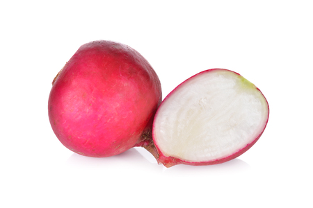 half  cut: whole and half cut small radish on white background