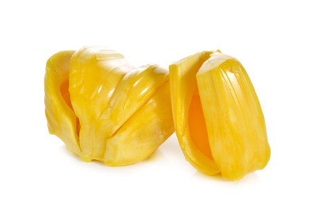 sweet pulp: ripe jackfruit on white background Stock Photo