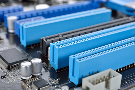 mainboard: closeup Peripheral Component Interconnection mainboard
