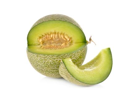 portion cut ripe honeydew melon on white background Stock fotó