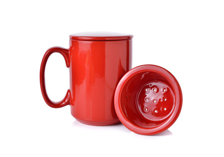 lid: red tea mug with filters and lid on white background