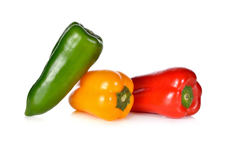 aura: fresh Aura sweet red, green and yellow pepper on white background