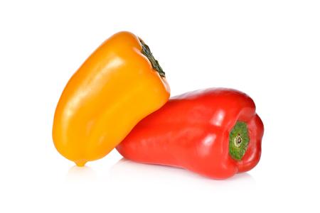 aura: fresh Aura sweet red, yellow pepper on white background