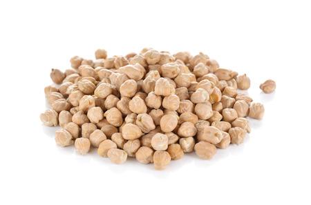 pile of garbanzo beans on white background