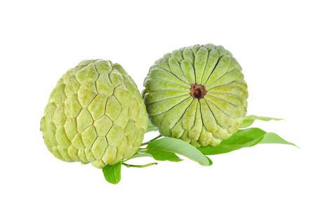 custard apple: raw custard apple with leaves on white background