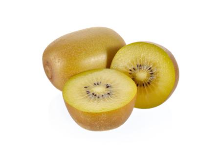 half  cut: whole and half cut gold kiwi fruit on white background Stock Photo