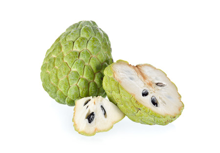 custard apple fruit: whole and half cut custard apple fruit on white background