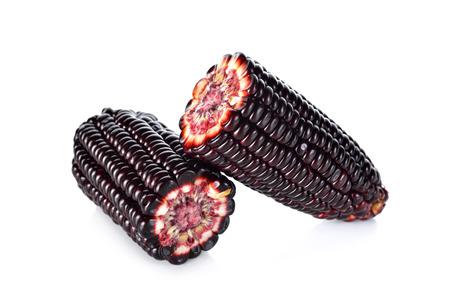 half  cut: half cut purple corn on white background Stock Photo