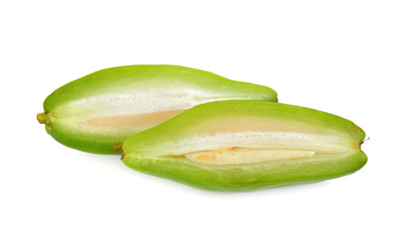 half  cut: half cut madan fruit on white background Stock Photo