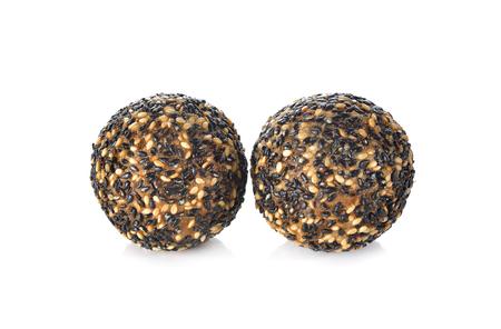 black sesame: fried mung bean with black sesame ball on white background