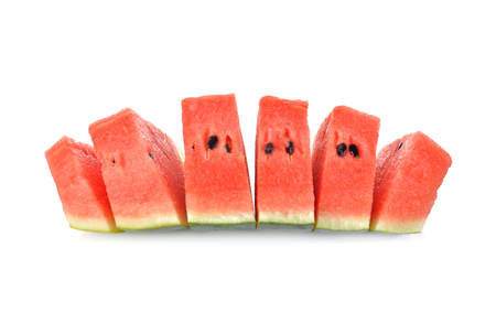 sliced watermelon: sliced watermelon with seed on white background Stock Photo