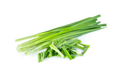 cebollin: fresh chives on white background