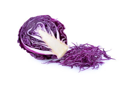 half  cut: half cut and sliced cabbage on white background