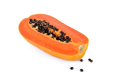 half  cut: half cut ripe papaya with seed on white background