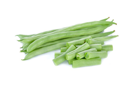 long bean: heap of French beans on white background