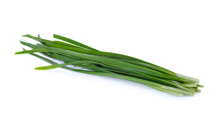 fresh chinese chives on white background Stock Photo
