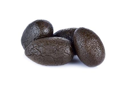 myrobalan: sweetened pickle Chinese white olive or Chebulic Myrobalan on white background