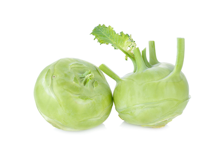 fresh green kohlrabi on white background Zdjęcie Seryjne