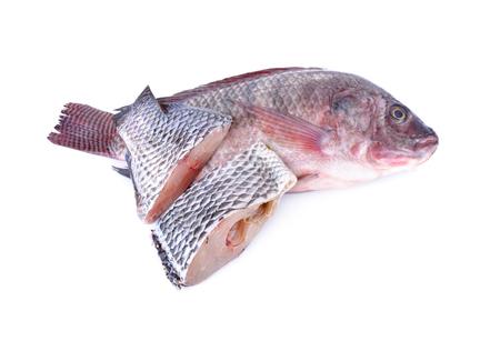 whole and portion cut fresh Nile Tilapia fish on white background Stock Photo