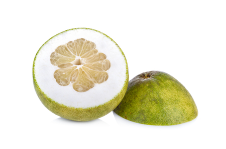 cut ripe pamelo on white background Stock Photo