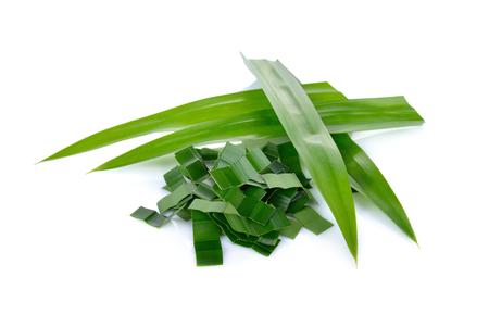 portion cut fresh pandan leaf on white background