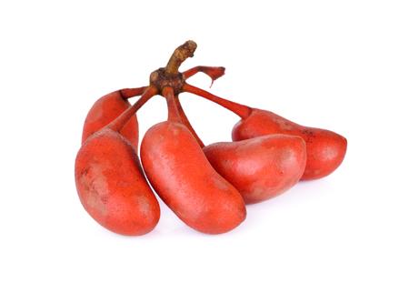 teats: ripe Uvaria rufa Blume fruit (native fruit) on white background Stock Photo