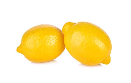 whole fresh lemon on white background