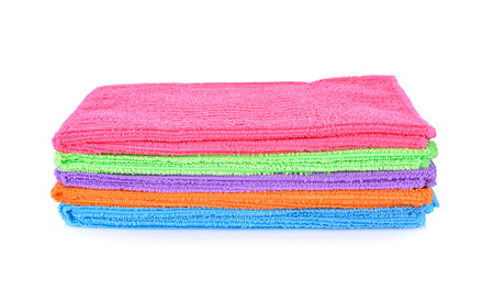 toweling: pile of small towel on white background