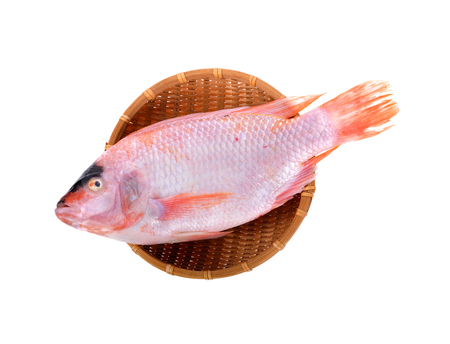 whole round fresh red tilapia or Tub-tim fish bamboo basket on white background Stock fotó