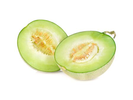 half cut ripe melon with stem on white backround