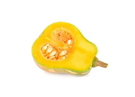 half cut fresh butternut pumpkin with stem on white background