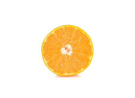 half cut ripe Australia honey murcott mandarin orange on white background