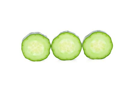 sliced fresh Japanese cucumbers on white background
