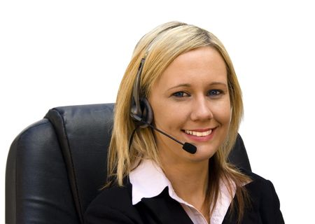 Beautiful blond receptionist on white background photo