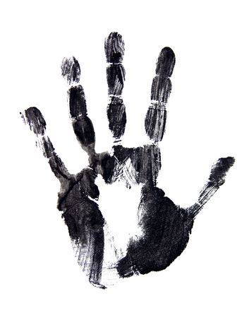 thumb print: Black ink image of left hand print
