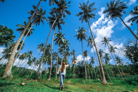 A beautiful curly-haired girl walks through a tropical forest under palm trees and a blue sky. Tall coconut trees. The girl carries a round straw hat in her hand. Photographed with a wide-angle lens.