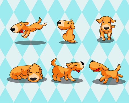 A Dog feeling happy in 6 action  Vector