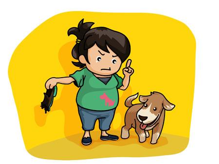 dog bite: Illustrazione del proprietario del cane lezione di insegnamento al suo cane