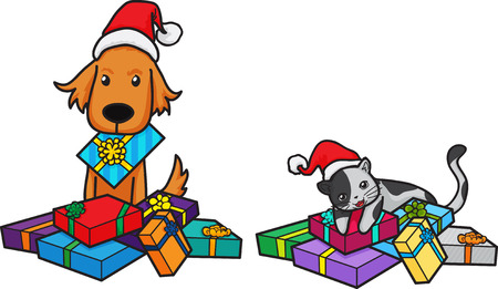 260 Dog Cat Christmas Cliparts, Stock Vector And Royalty Free Dog ...