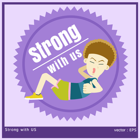sit ups: vector illustration boy is exercise by sit up Illustration