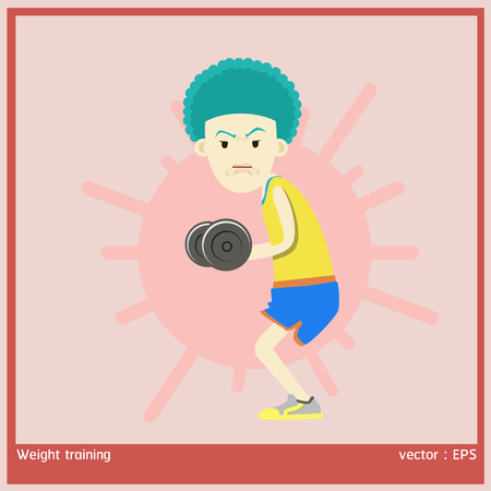 weight training: vector illustration boy is exercise by weight training Illustration