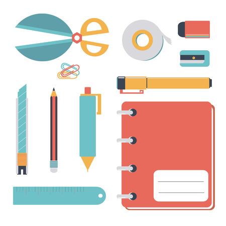 knutsel spullen: pastel stationaire icon set