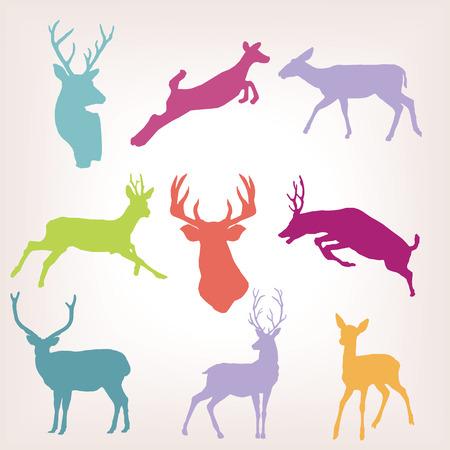 action deer silhouette set Vettoriali
