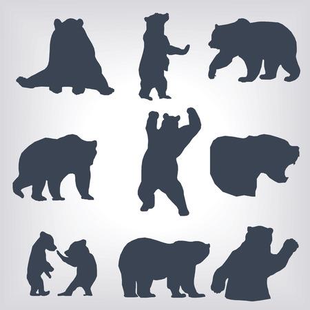 action bear silhouette set