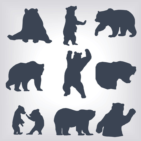 bear silhouette: action bear silhouette set