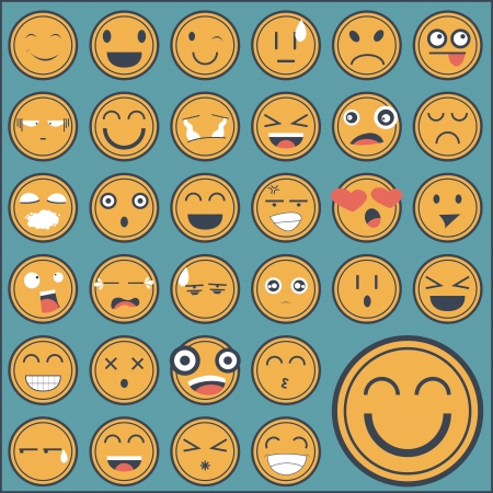 emotion face sticker collection Vector