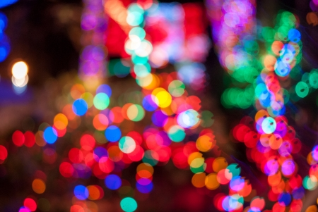 bright colorful bokeh at the night photo