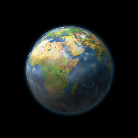Earth globe with embossed continents isolated on black  photo